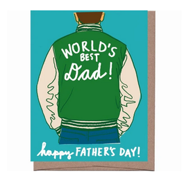 La Familia Green World's Best Dad Varsity Jacket Greeting Card