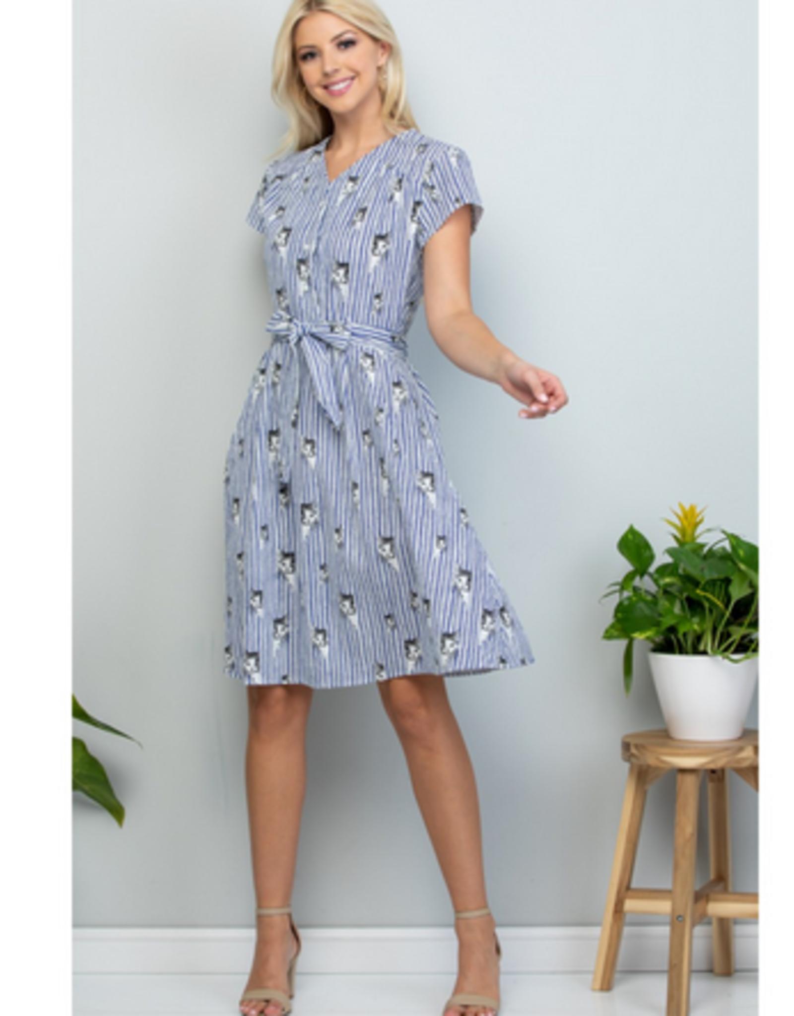 Peek A Boo Grey Kitty Striped Dress