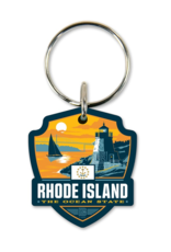 Rhode Island the Ocean State Wooden Key Ring