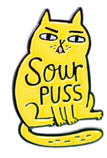 Sourpuss Cat Enamel Pin