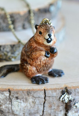 Handpainted Porcelain Beaver Necklace