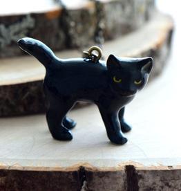Handpainted Porcelain Black Cat Necklace