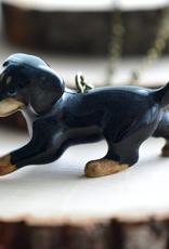 Handpainted Porcelain Dachshund Weiner Dog Necklace