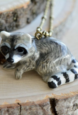 Handpainted Porcelain Raccoon Necklace