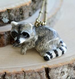 Handpainted Porcelain Raccoon Necklace
