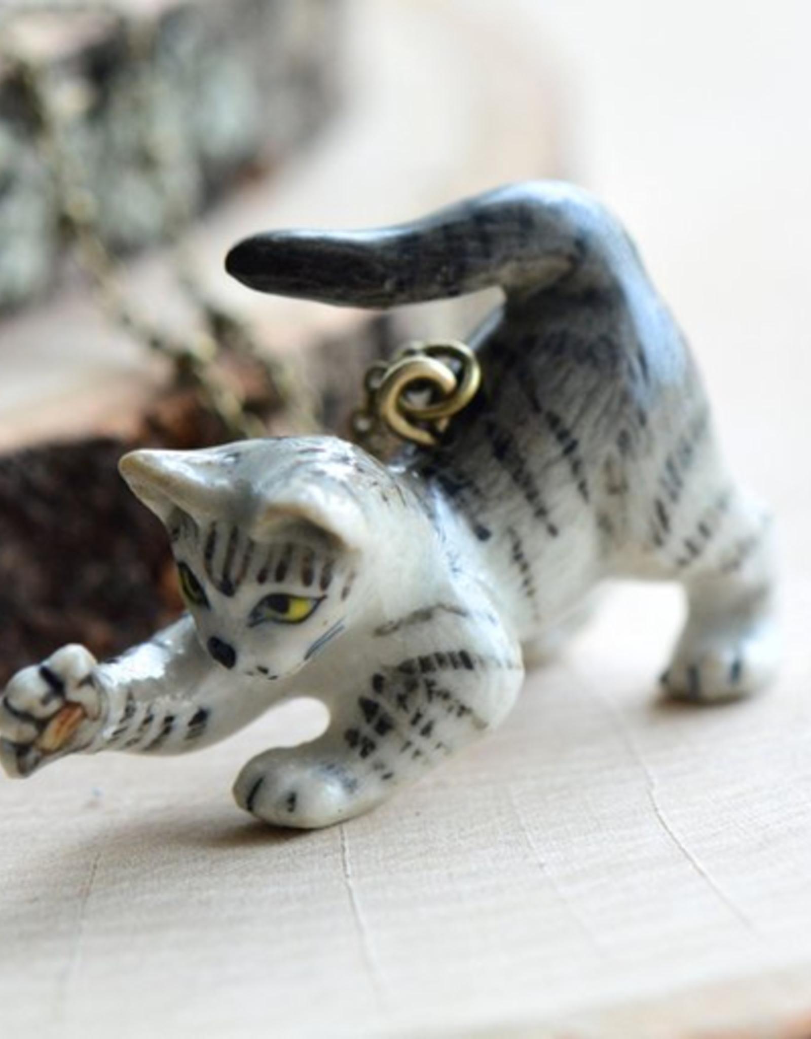 Handpainted Porcelain Tiger Kitten Necklace