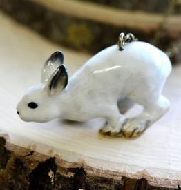 Handpainted Porcelain White Rabbit Necklace
