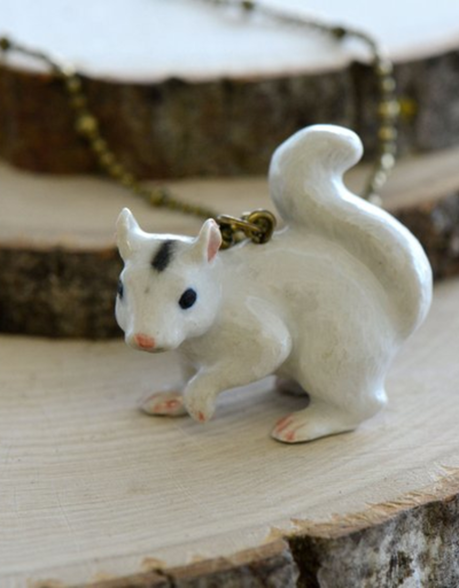 Handpainted Porcelain White Squirrel Necklace