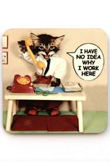No Idea Why I Work Here Cat Coaster