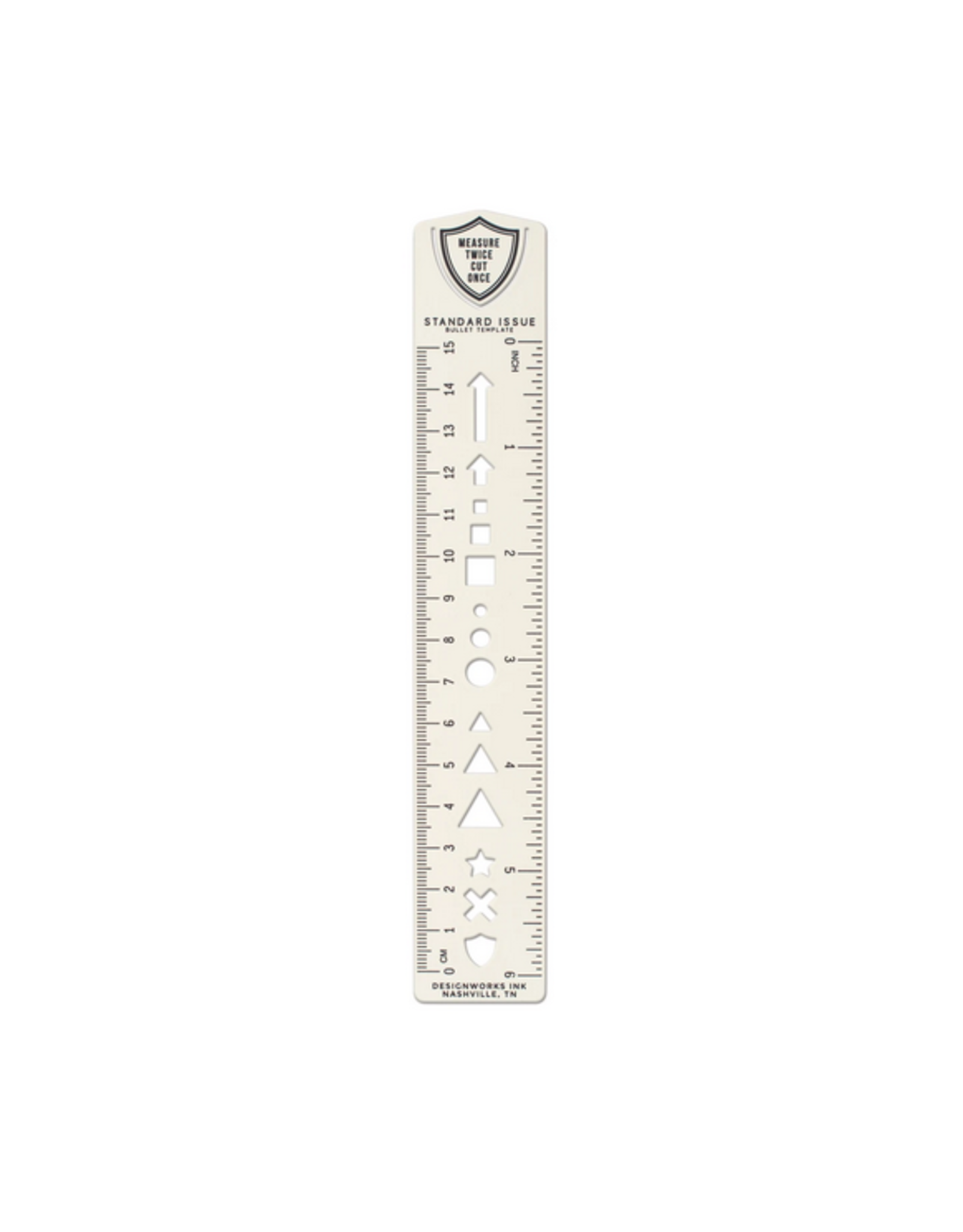 Bullet Template Ruler Bookmark - Cream