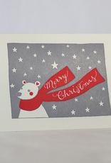Christmas Bear with Scarf Greeting Card