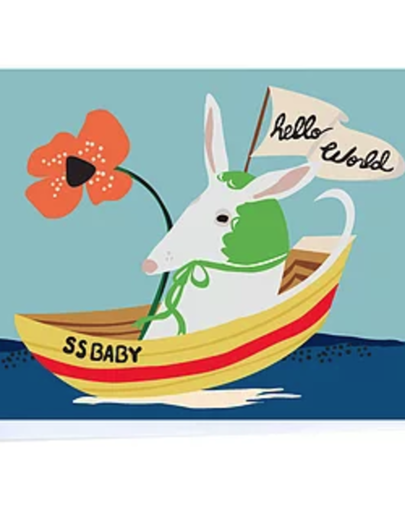 Hello World Baby Boat Greeting Card