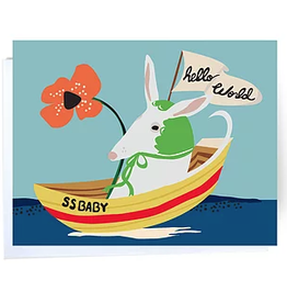 Hello World Baby Boat Greeting Card