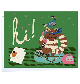 Hi (Samurai Cat) Greeting Card