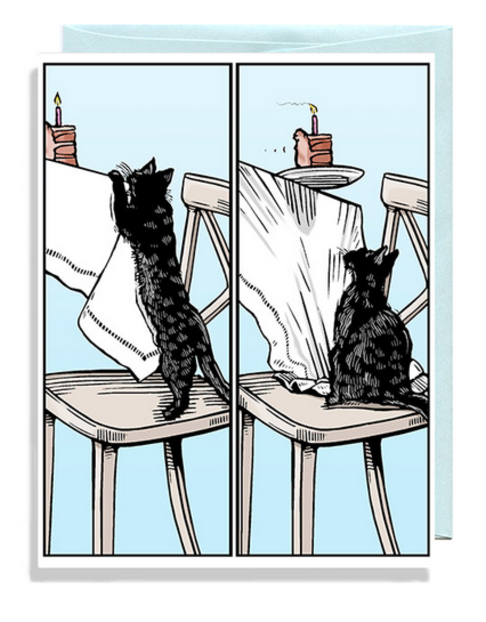 Cat Cake Gravity Greeting Card