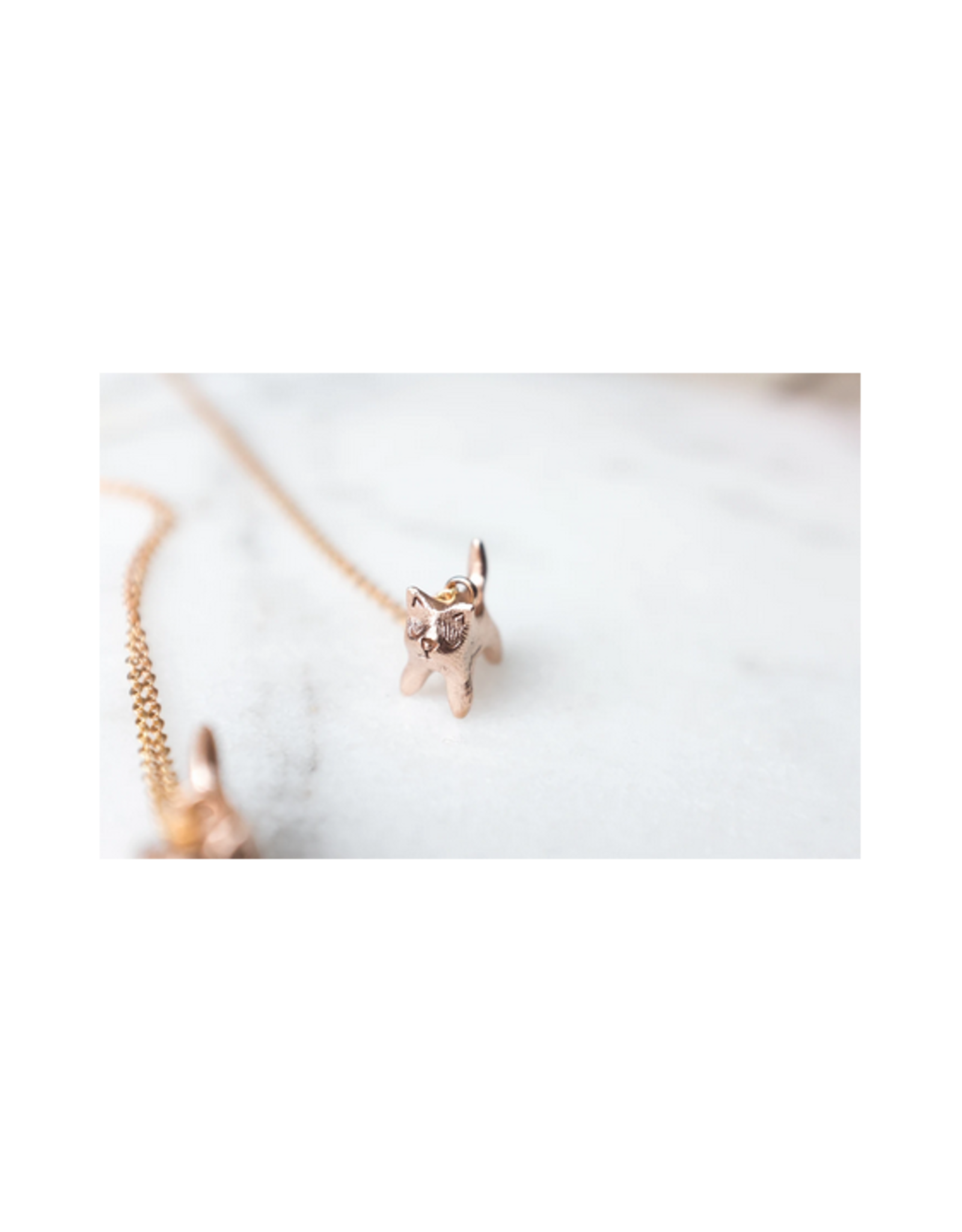Bronze Cat Necklace with Brass Chain