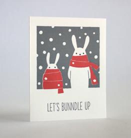 Let's Bundle Up Rabbits Greeting Card