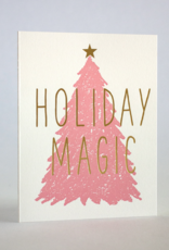 Holiday Magic Pink Tree Greeting Card