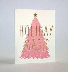 Holiday Magic Pink Tree Greeting Card