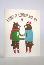 Tidings of Comfort and Joy Bears in Sweaters Greeting Card