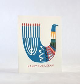 Happy Hanukkah Bird Greeting Card