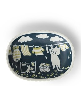 Plate Cat Laundry (Blue/White)