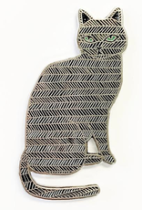 Sitting Black Cat Enamel Pin