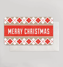 Merry Christmas Cross Stitch (Silver & Red) Mini Card
