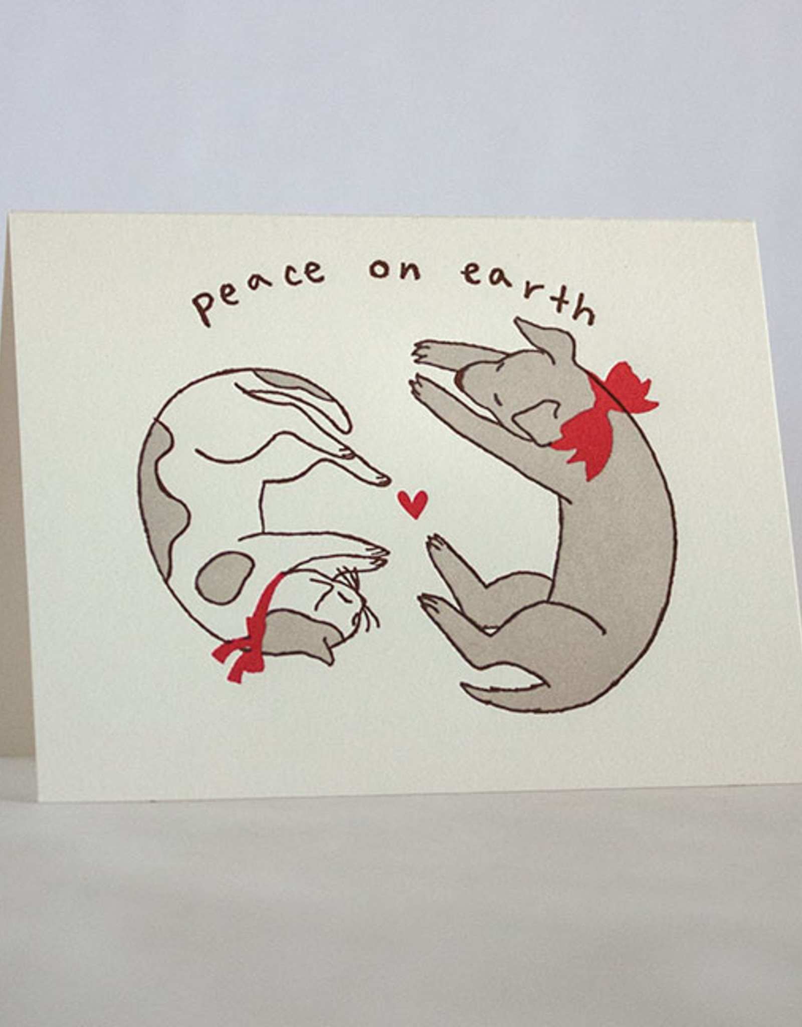 Peace on Earth Cat & Dog Greeting Card