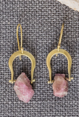 Crescent Earrings - Raw Tourmaline