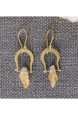 Crescent Earrings - Raw Citrine
