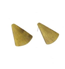 Gingko Brass Drop Stud Earrings, Wide Leaf