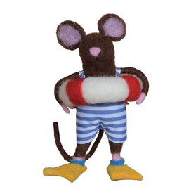 Felt Swimmer Mouse Christmas Ornament