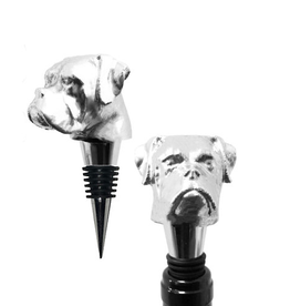 Bull Dog Wine Stopper, Silver