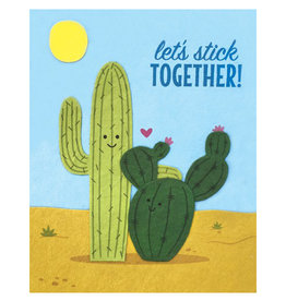 Let's Stick Together Cactuses Greeting Card