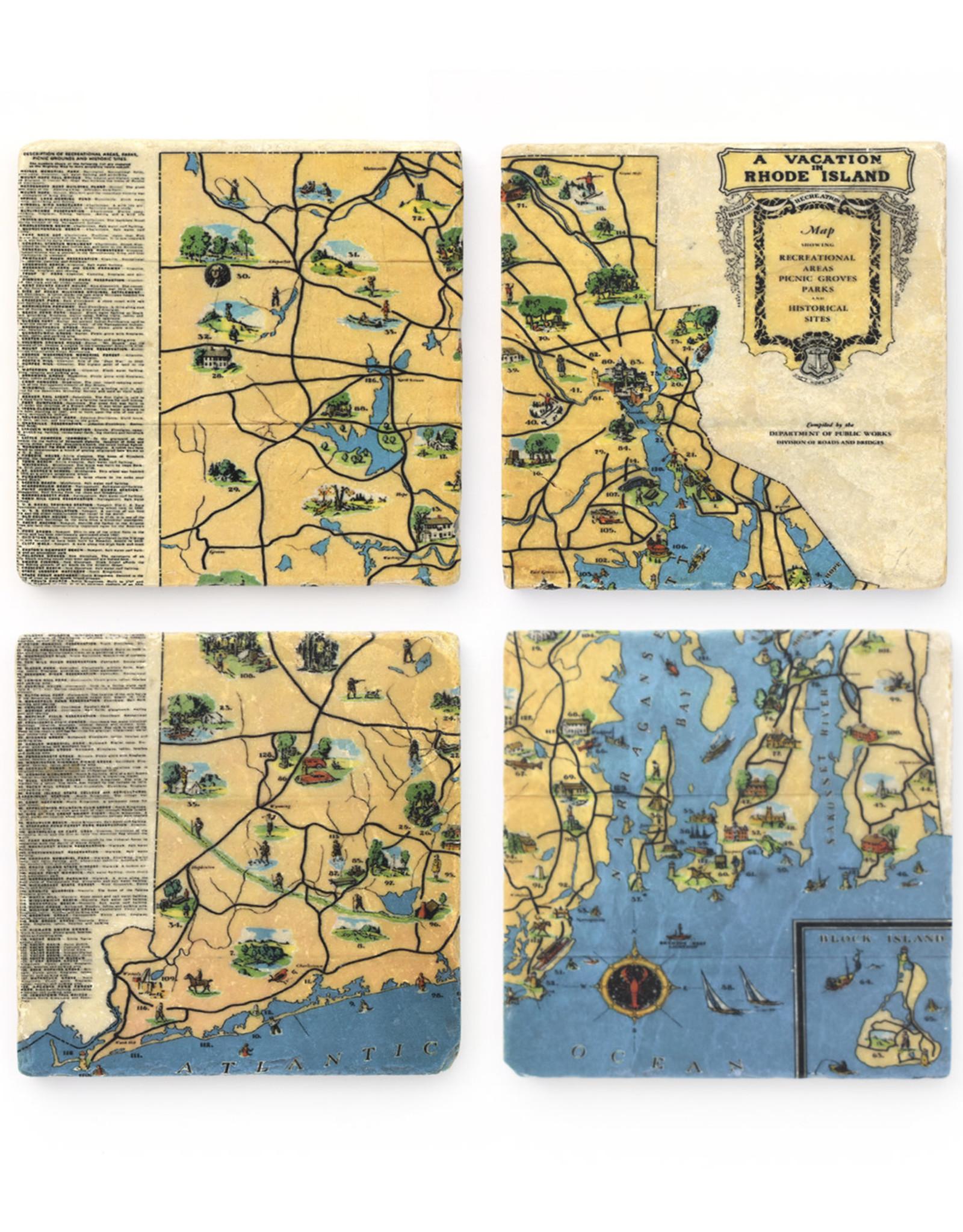 RI Vacation Map Coaster Set