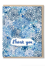 Thank You Blue Flowers Greeting Card