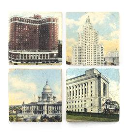 Vintage Prov Postcards Coaster Set