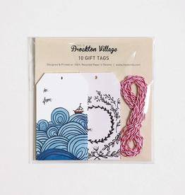 Gift Tag Set : Floral & Waves