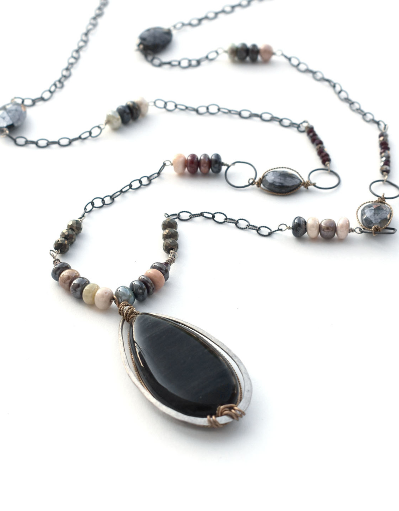 Cat's Eye Opal Pendant Necklace
