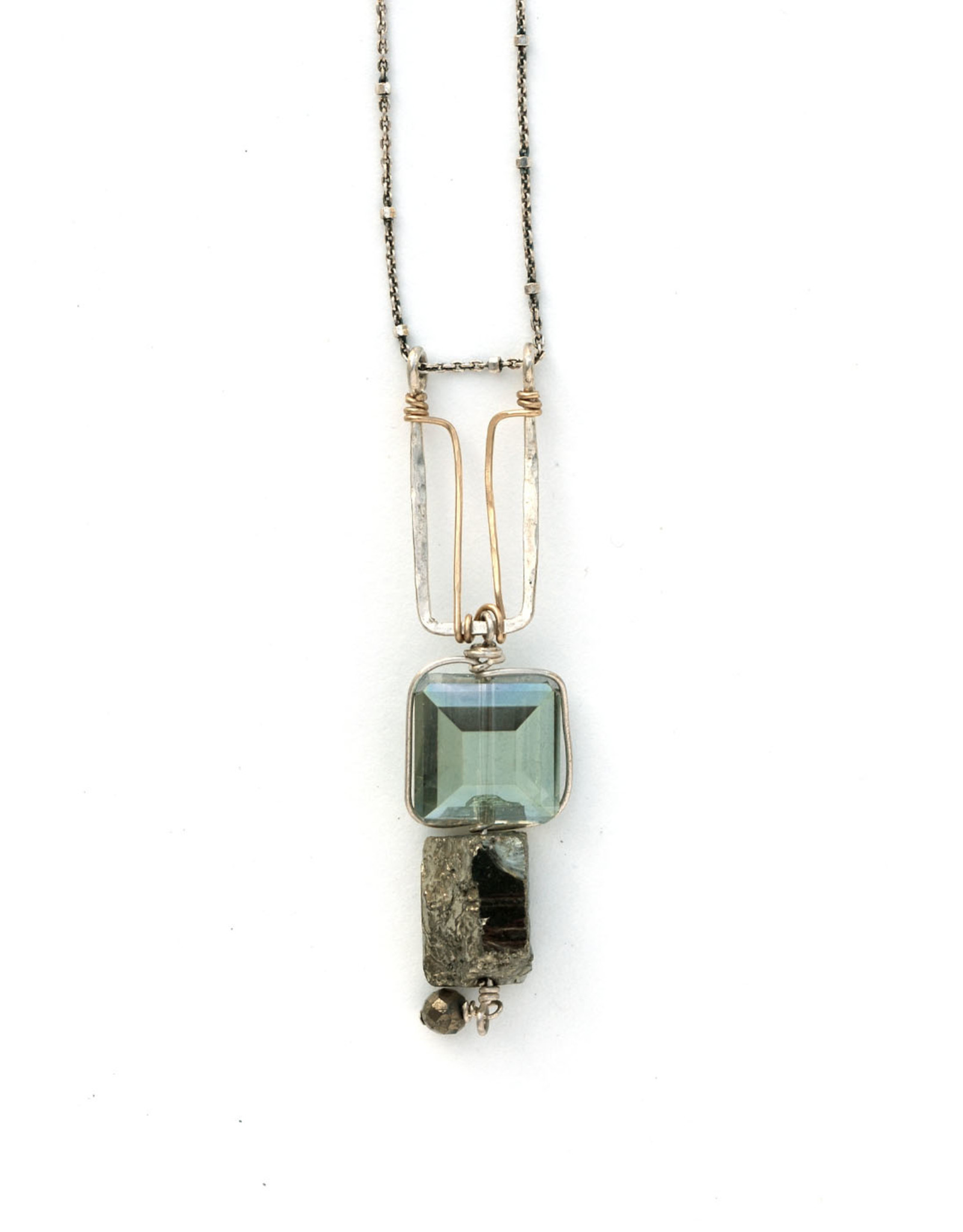 Crystal & Pyrite Pendant Necklace