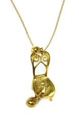 Whimsical Cats Necklace - Brass