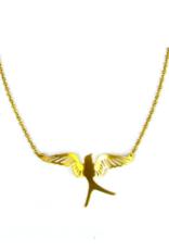 Small Mocking Bird Necklace - Brass