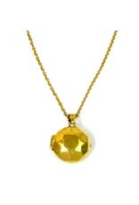 Gemstone Locket Necklace - Brass