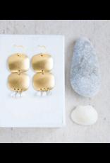 Brass & Faux Marble Beaded Chandelier Earrings