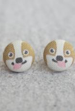 Corgi Button Earrings