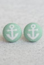 Mint Anchor Button Earrings