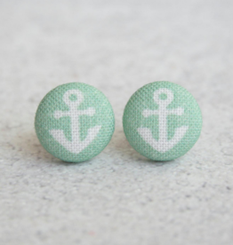 Mint Anchor Button Earrings