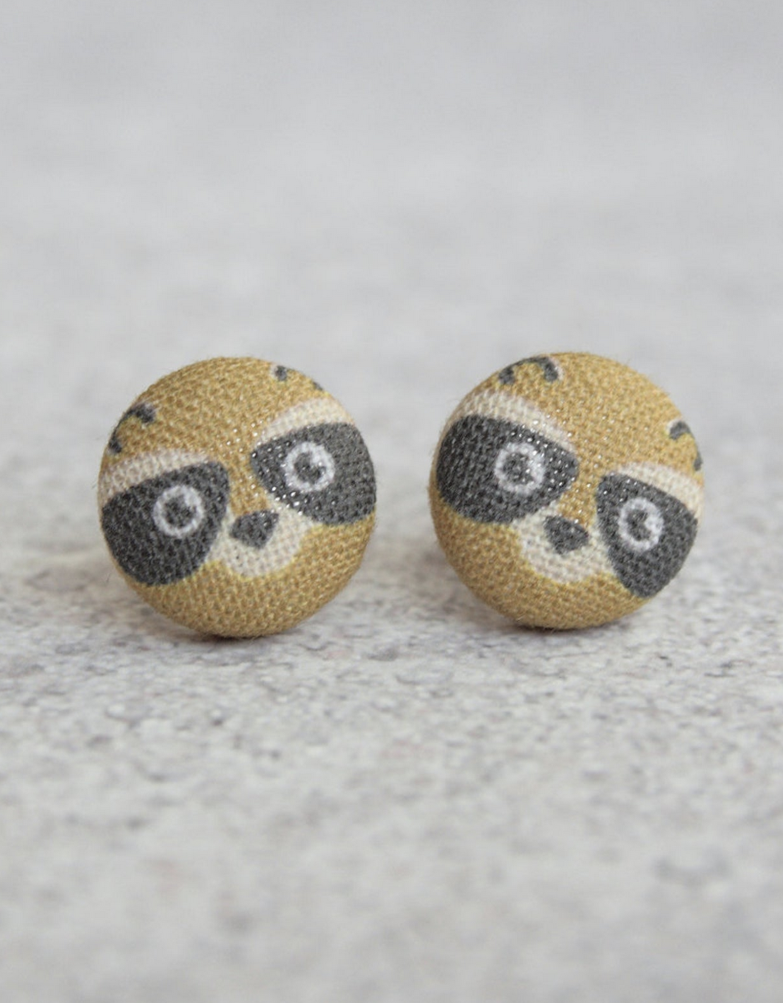 Raccoon Button Earrings
