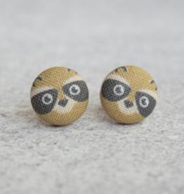 Raccoon Button Earrings